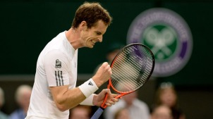 LONDON, ENGLAND - JUNE 28:  Andy Murray of Great Britain celebrates a point during his Gentlemen's Singles third round match against Tommy Robredo of Spain on day five of the Wimbledon Lawn Tennis Championships at the All England Lawn Tennis and Croquet Club on June 28, 2013 in London, England.  (Photo by Dennis Grombkowski/Getty Images)